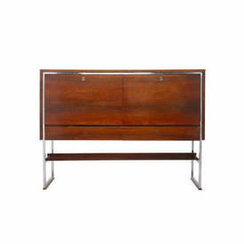Rosewood & Chrome 2 Door 2 Drawer Tall Sideboard