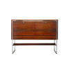 Rosewood & Chrome 2 Door 2 Drawer Tall Sideboard ( H: 110cm W: 150cm D: 43cm )