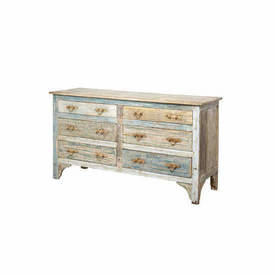 Washed Painted 6 Drawer Chest with Metal Handles