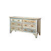 Washed Painted 6 Drawer Chest  + White Metal Handles  (, Vintage)