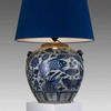 Extra Large Bulbous Fish Pattern Painted Pottery Table Lamp