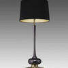 Tall Gunmetal & Gold Based Table Lamp With Black Shade