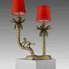 Brass Monkey & Palm Trees 2 Prong Table Lamp With Coral