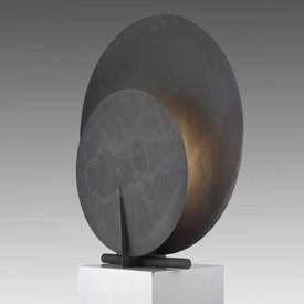 """Large Grey Oxidised Aluminium """"AD"""" Table Lamp"""