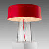 Clear Glass 'glam' Table Lamp With Red Glass Shade