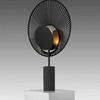 Black Fan 'oyster' Table Lamp On Tubular Base