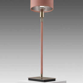 "Pink Leather & Satin Nickel ""Linea"" Table Lamp with Shade"