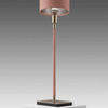 "Pink Leather & Satin Nickel ""Linea"" Table Lamp & Shade"