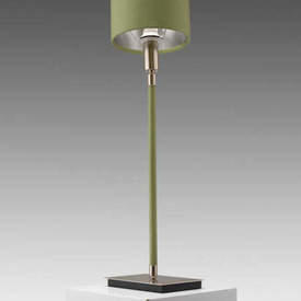 "Willow Green Leather & Satin Nickel ""Linea"" Table Lamp with Shade"