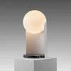 Matt White & Black Marble 'guazza' Table Lamp With White Glass Globe Shade
