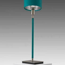 "Turquoise Leather & Satin Nickel ""Linea"" Table Lamp with Shade"