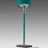 "Turquoise Leather & Satin Nickel ""Linea"" Table Lamp & Shade"