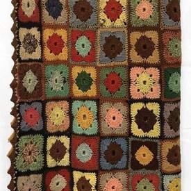"Crochet Throw 7'7"" x 4'10"" Off Multi Diamond Squares Wool / Edged"