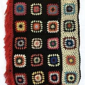 "Crochet Throw 7'6"" x 4'3"" Black / Multi Squares / Fringe"