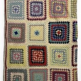 """Crochet Throw 5'3"""" x 3'7"""" Multi Squares Wool"""
