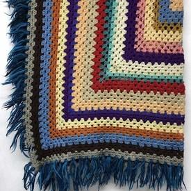 "Crochet Throw 44"" x 44"" Royal / Multi Concentric Squares / Fringe"