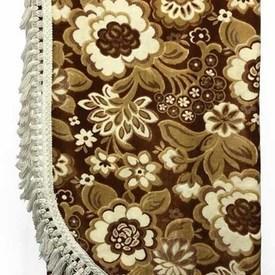 Bed Cover (K) Tan / Off-White Large Floral Figured Velvet / Tassel Fringe