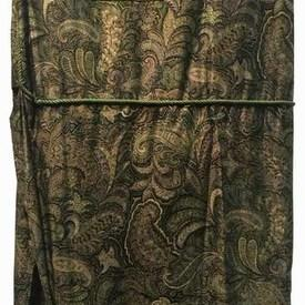 Fitted Bed Cover (K) Khaki Paisley Sateen / Corded