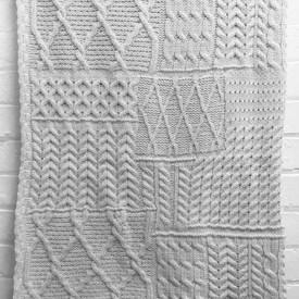 """Knitted Throw 5' x 3'6"""" Ivory Geo Cable Wool"""