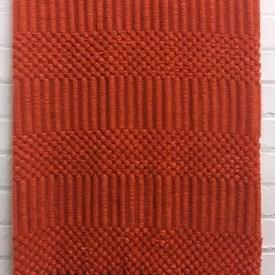 "Knitted Throw 6' x 4'6"" Orange Woolly Bobble Stripe / Fringe"