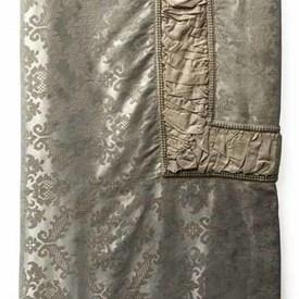 Bed Cover (K) Ivory / Silver Geo Silky Damask / Ruched Silk Panel