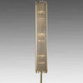 Gold Plated Ribbed ''Matheny'' Floor Lamp on Black Base