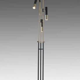 Gold Plated & Black Glossy Triple Spot Floor Lamp