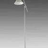 Chrome Floorstanding Anglepoise Lamp With White Glass Shade
