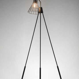 "Bronze Tripod ""Jefferson"" Floor Light with Cage Shade"