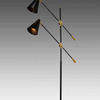 Black & Gold Twin Floor Lamp With Cone Shades