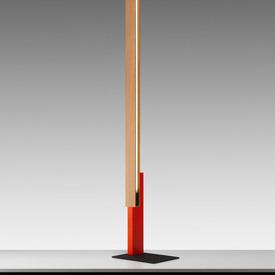 "Orange & Oak ""High Line"" Floor Lamp on Black Base"