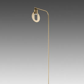 "Champagne Gold ""Hole"" Floor Lamp on Oval Base"