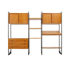 Cherrywood & Black Metal Ladderax Shelving System