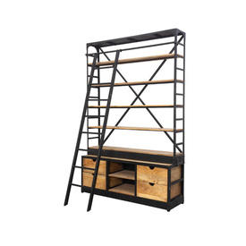Large Black Metal industrial Shelving Unit with Oak Shelves & Drawers Plus Ladder