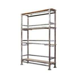 Grey Scaffold Pole & Wood Shelving Unit