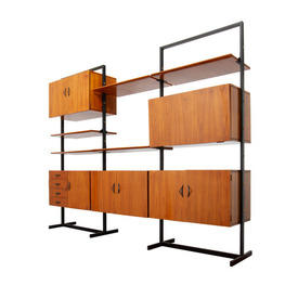 Modular Italian Rosewood Shelf Unit with Black Steel Support (5 Cupboards & 5 Shelves)