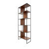 Walnut & Black Metal Shelving Unit (70cm X 32cm X 190cm H)