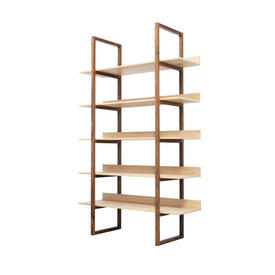"Walnut & Oak Wooden ""Singer"" 5 Tier Shelving Unit"