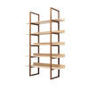 Walnut & Oak Wooden 'singer' 5 Tier Shelving Unit (120cm X 38cm X 198cm H)