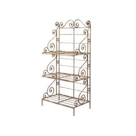 3 Tier Aged White Metal Ornate Shelf