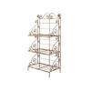 3 Tier Aged White Metal Ornate Shelf