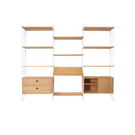 White & Oak String Shelf System with 9 Shelves, 1 X Sliding Door Cupboard, 1 X Drawer Unit & 1 X Book Shelf