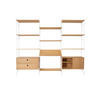 White & Oak String Shelf System With 9 Shelves , 2 Sliding Door Cupboards, 1 X Book Shelf