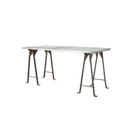 Rect Galvanised Studded Top Dining Table on Trestle Base