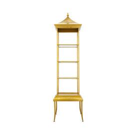 Tall Aged Gold Padoga Shelf