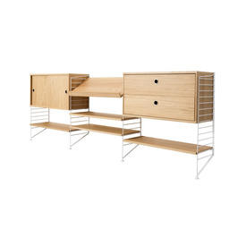 White & Oak Low String Shelf System with 4 Shelves, 1 X Sliding Door Cupboard & 1 X Drawer Units