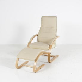 Cream Leather Beech Cantilever H/B Lounge Chair