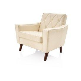 Ivory Leather Diamond Patt Button Retro 3 Seater Armchair on Wooden Feet Mpf