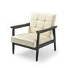 Cream Square Pattern Button Leather Armchair On Dark Wood Frame