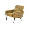 Yellow & Grey Vintage Tapersty Mpf Armchair On Splay Black Legs